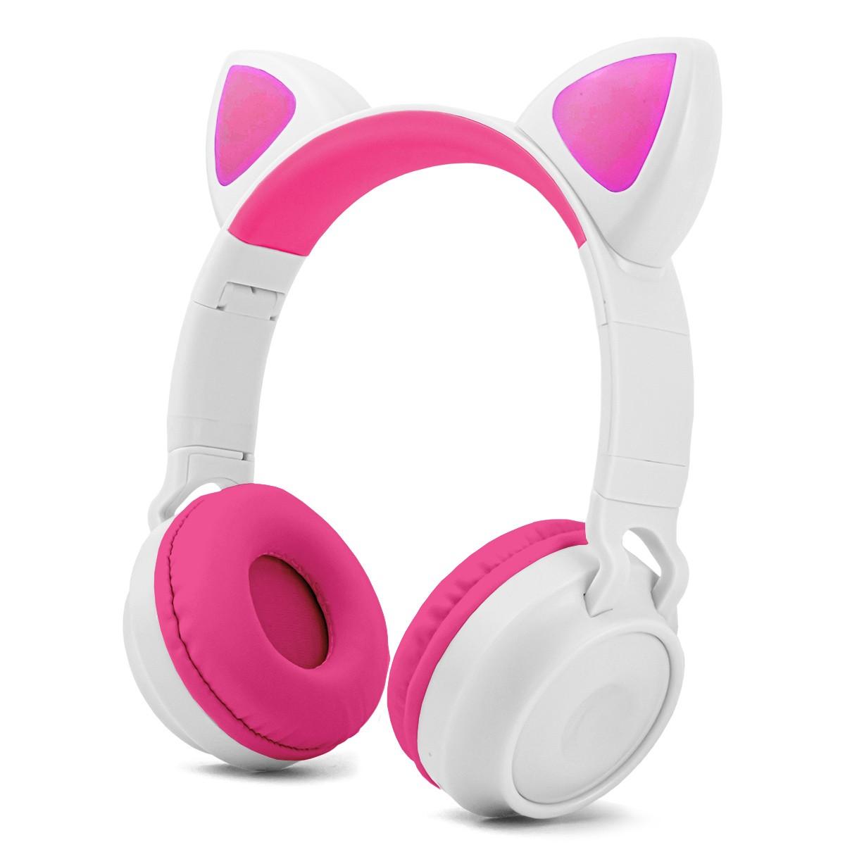 Headphone Bluetooth Orelha de Gato com LED P2 Micro SD e Microfone Exbom HF-C290BT