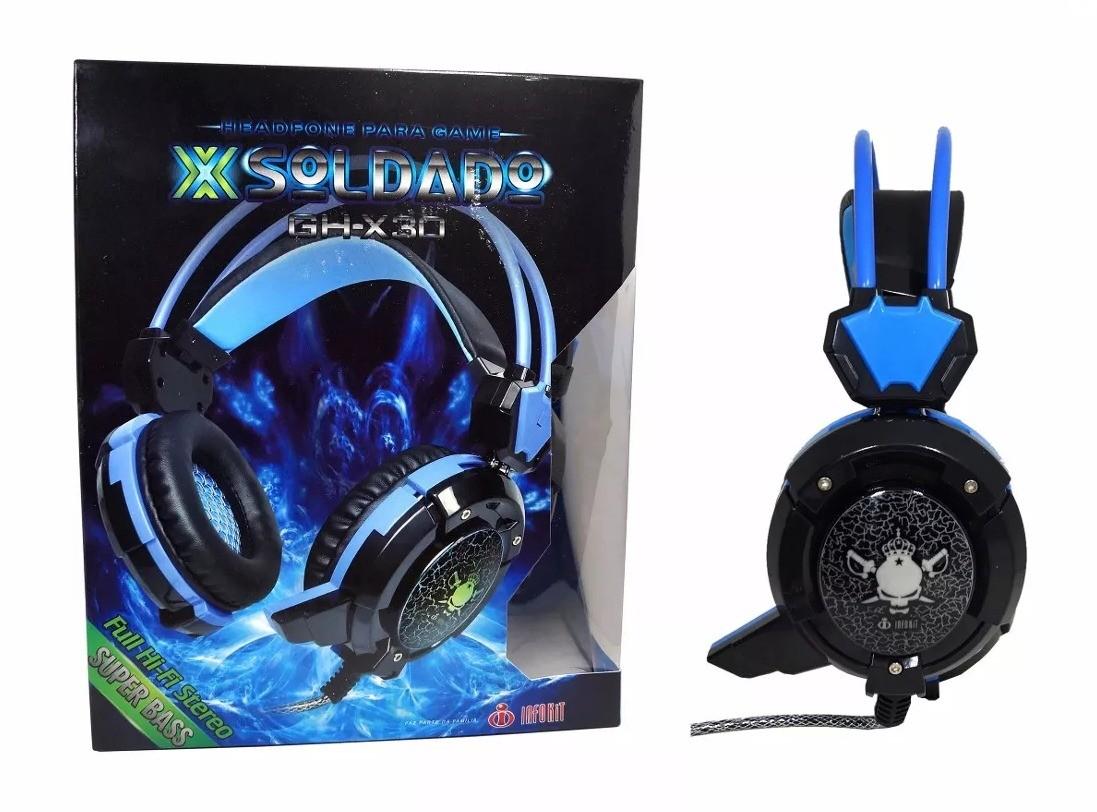 Headphone Gamer c/ Microfone e LEDs Coloridos Infokit GH-X30