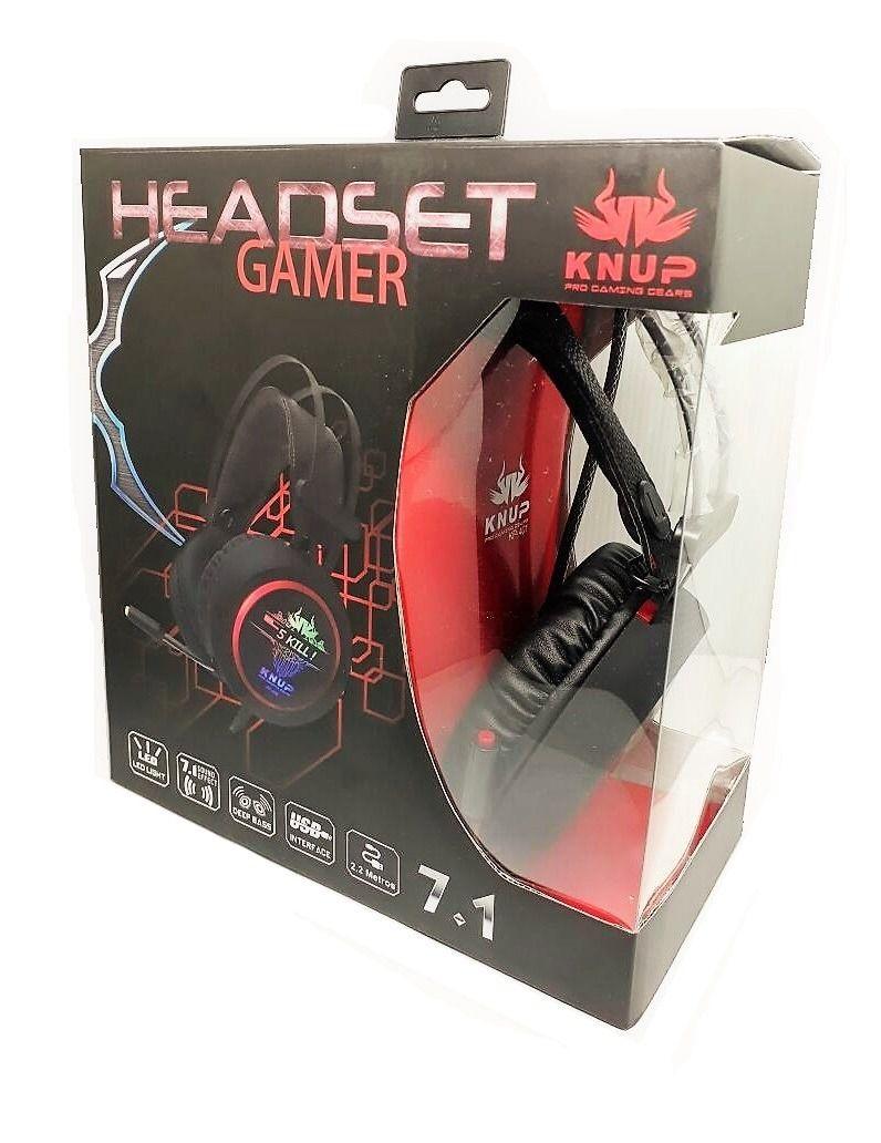 Headset Gamer com Microfone e LEDs Knup KP-401
