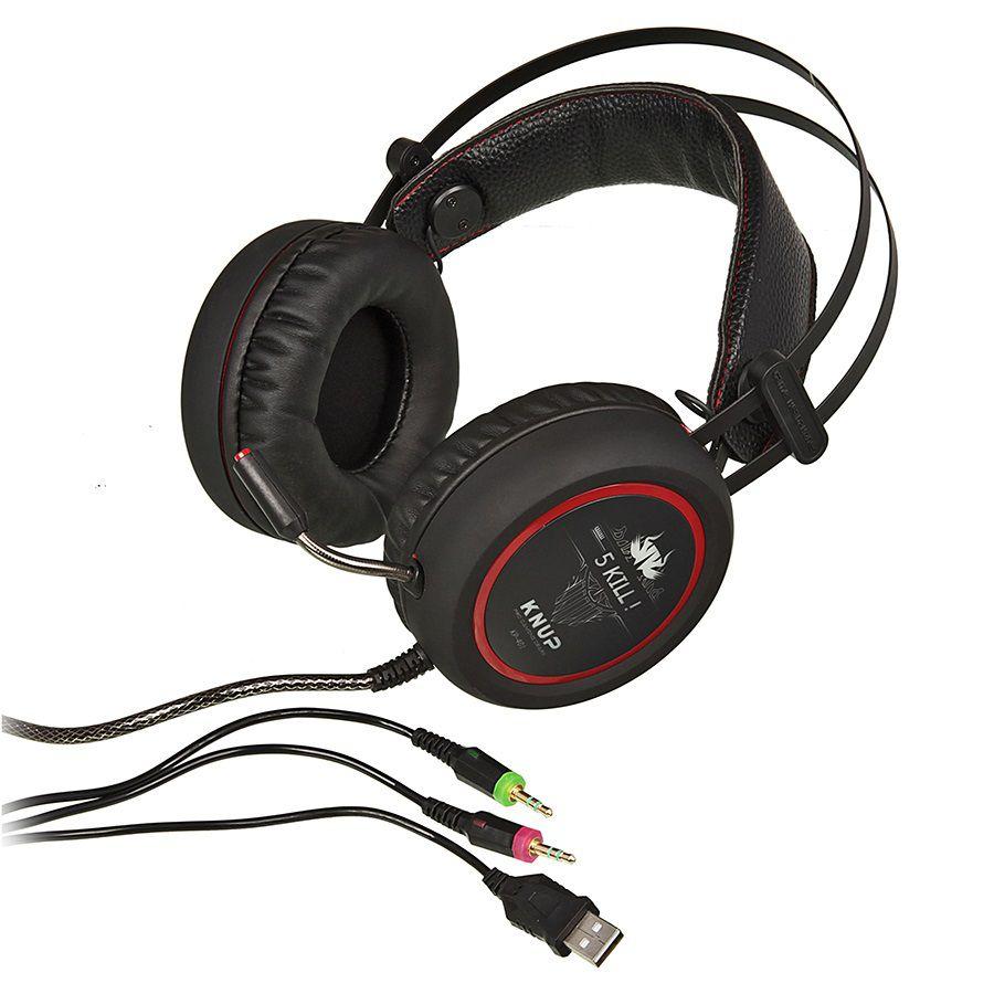 Headset Gamer com Microfone e LEDs Knup KP-401  com Adaptador P3 x P2