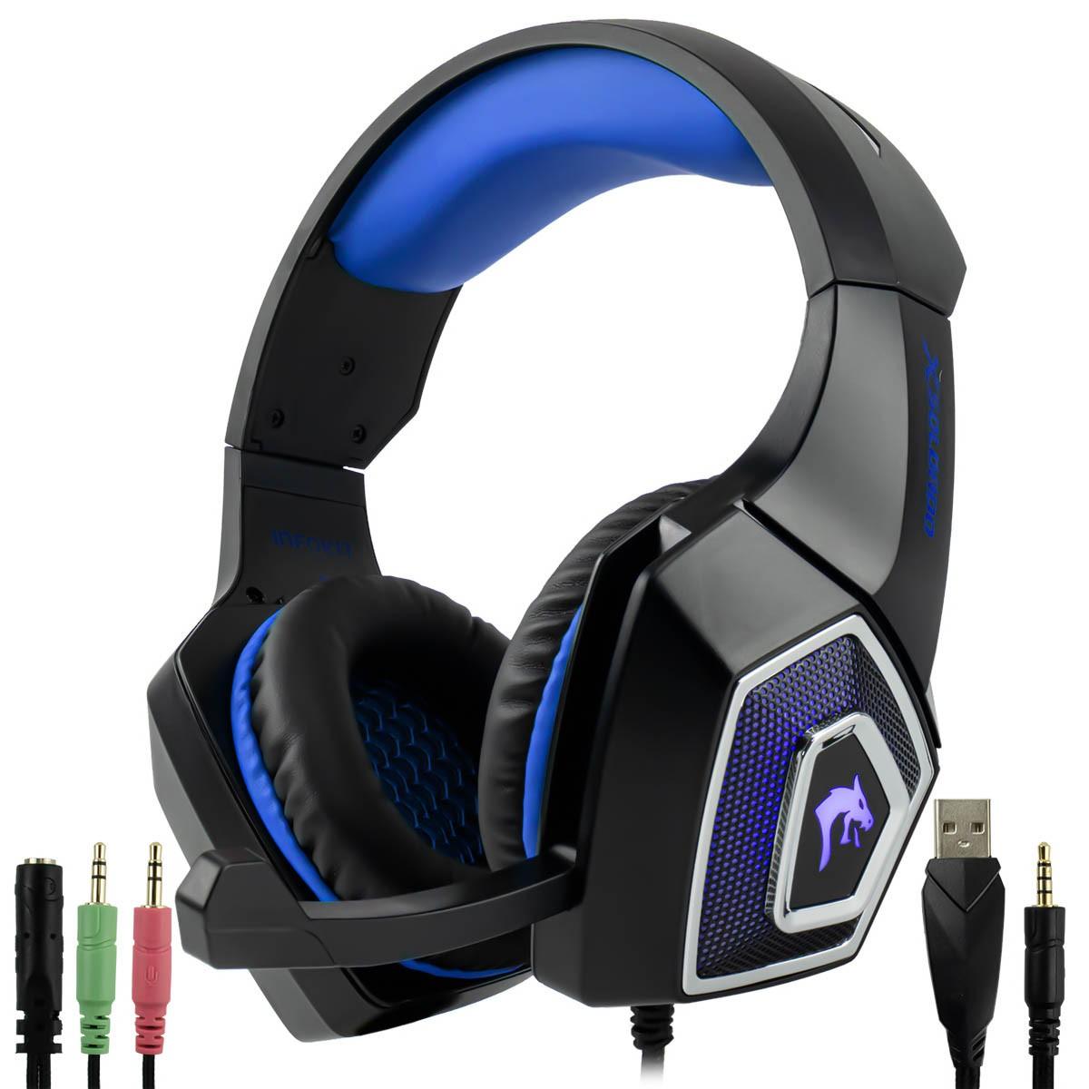 Headset Gamer 7.1 Surround LED RGB 7 Cores com Microfone Articulado Cabo P3 + Adaptador p/ P2 Infokit GH-X2000