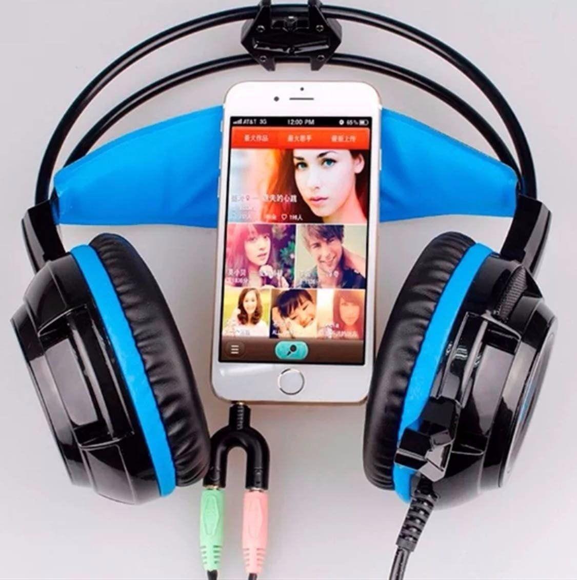 Headset Gamer com Microfone e LEDs Knup KP-400 com Adaptador P3 x P2