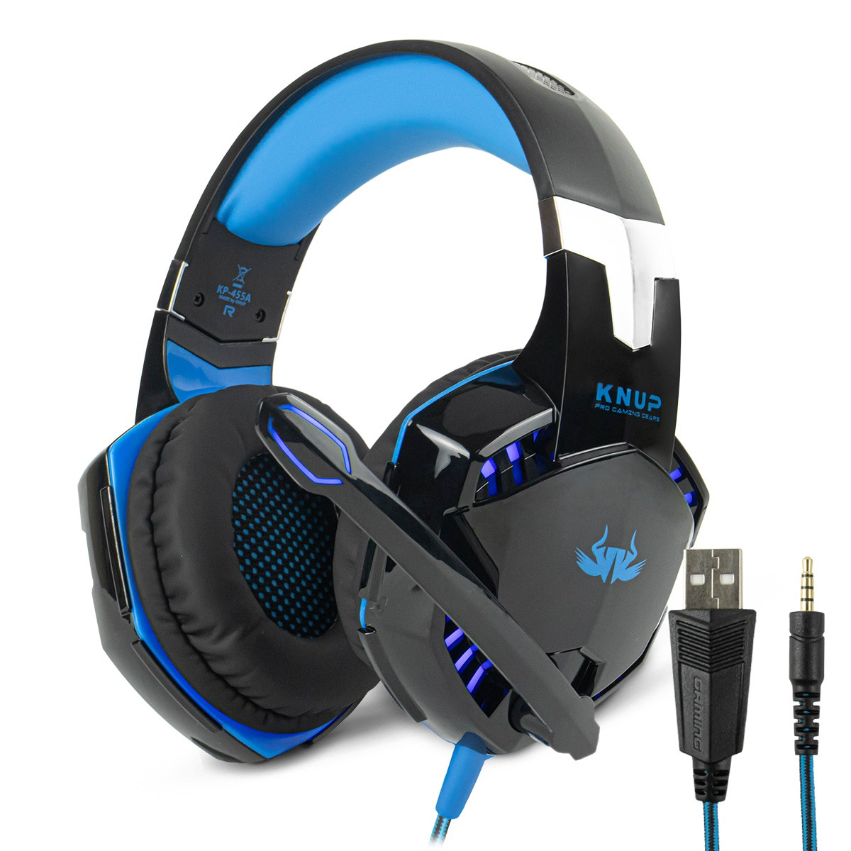 Headset Gamer Surround LED com Microfone Retrátil Cabo P3 + Adaptador p/ P2 Knup KP-455A