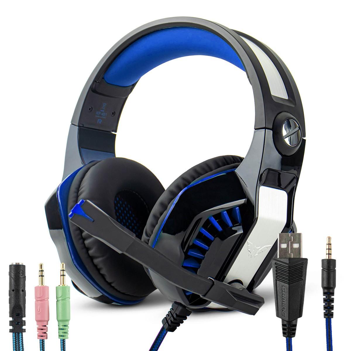 Headset Gamer Surround LED com Microfone Retrátil Cabo P3 + Adaptador p/ P2 Knup KP-491