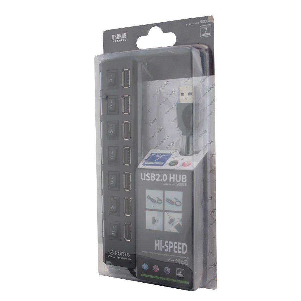 Hub USB 2.0 7 Portas com Leds Botão Liga/Desliga e Fonte de Energia
