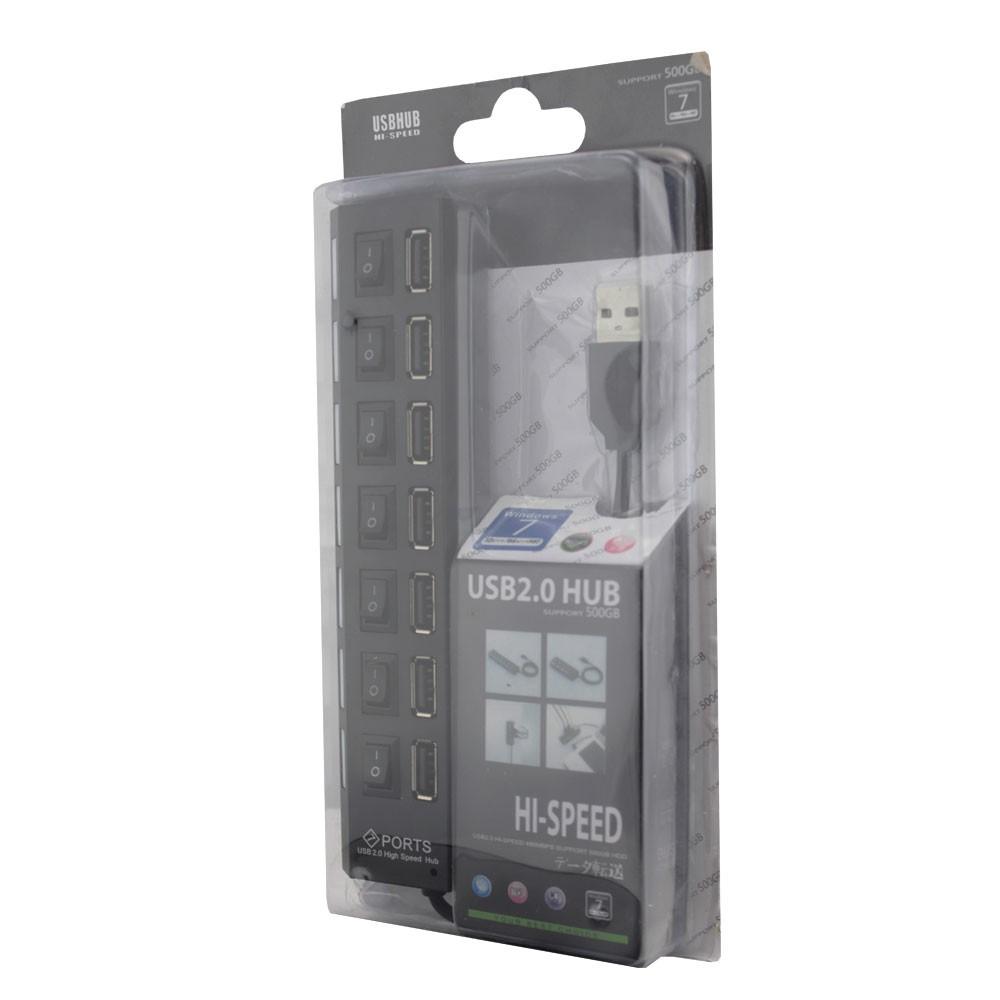 Hub USB 2.0 7 Portas com Led Indicador e Botão Liga/Desliga