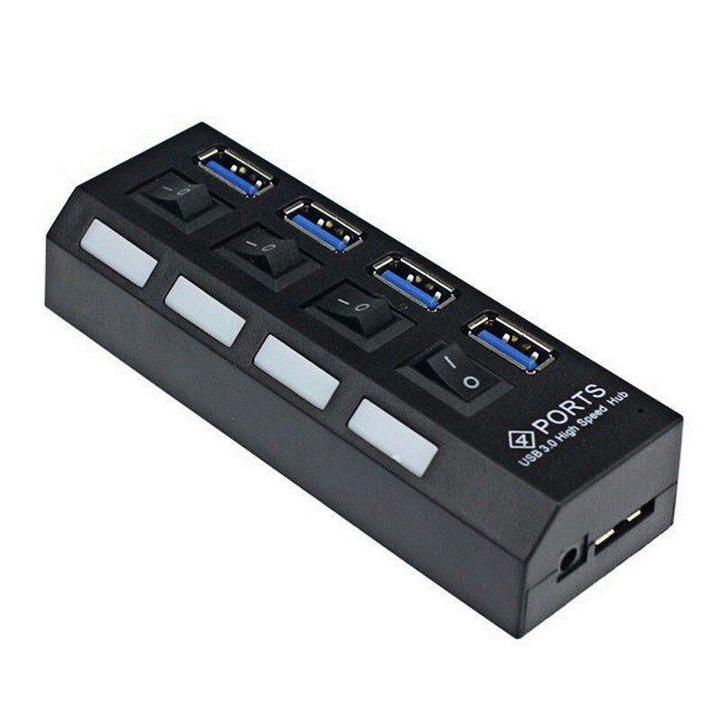 Hub USB 3.0 4 Portas com Leds Botão Liga/Desliga e Fonte de Energia