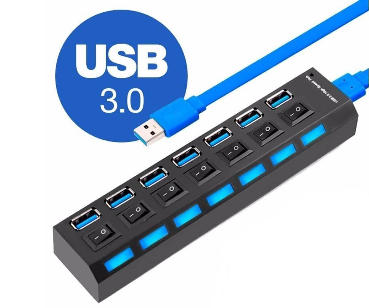 Hub USB 3.0 7 Portas com Led Indicador e Botões Liga/Desliga