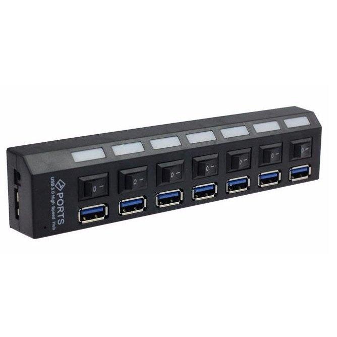 Hub USB 3.0 7 Portas com Leds Botão Liga/Desliga e Fonte de Energia