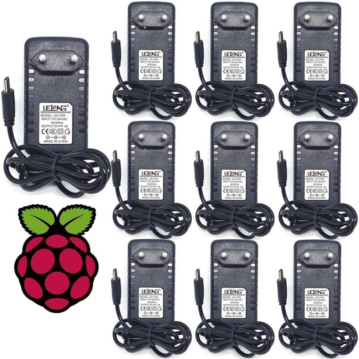 KIT 10 Fontes Chaveada 5v 3a Micro USB Bivolt Lelong LE-0184