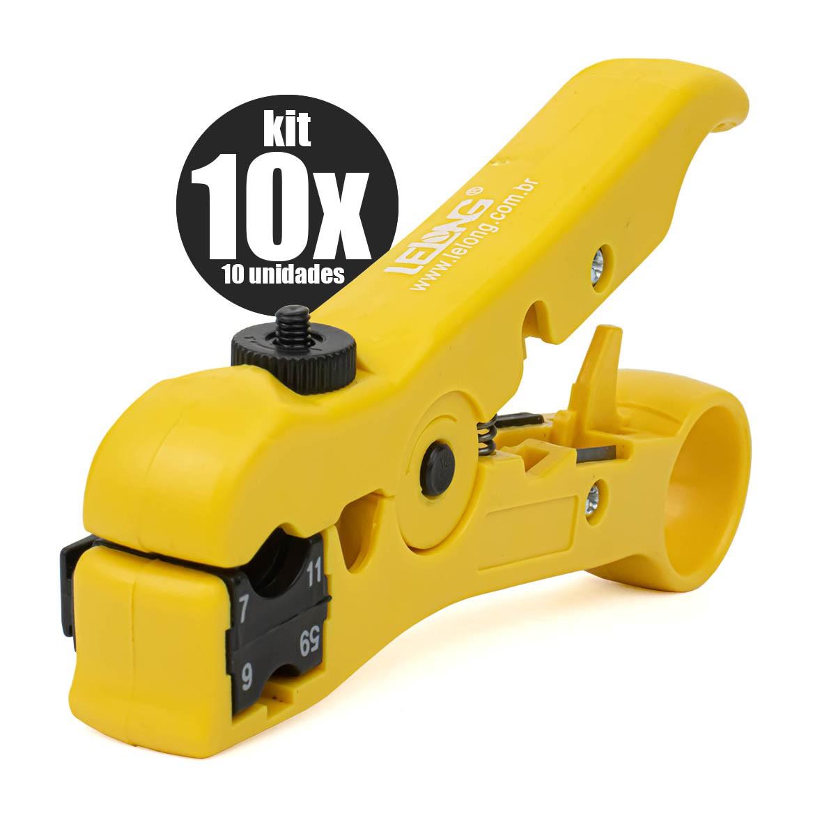 KIT 10x Alicate Desencapador Universal de Fios e Cabos UTP/STP-RG59/6/7/11 Lelong LE-949
