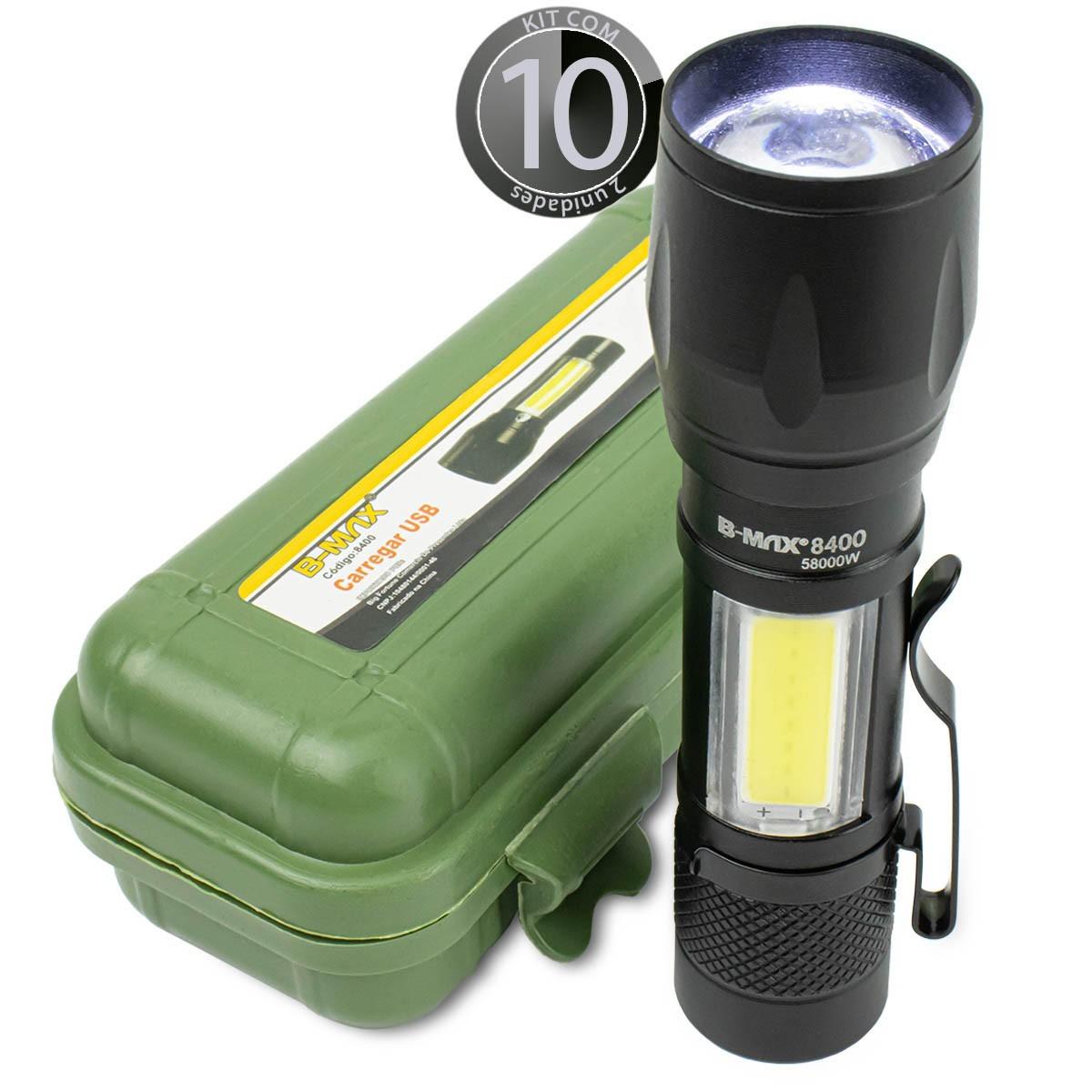 KIT 10x Lanterna Led Mini Recarregável via Usb B-Max BM8400