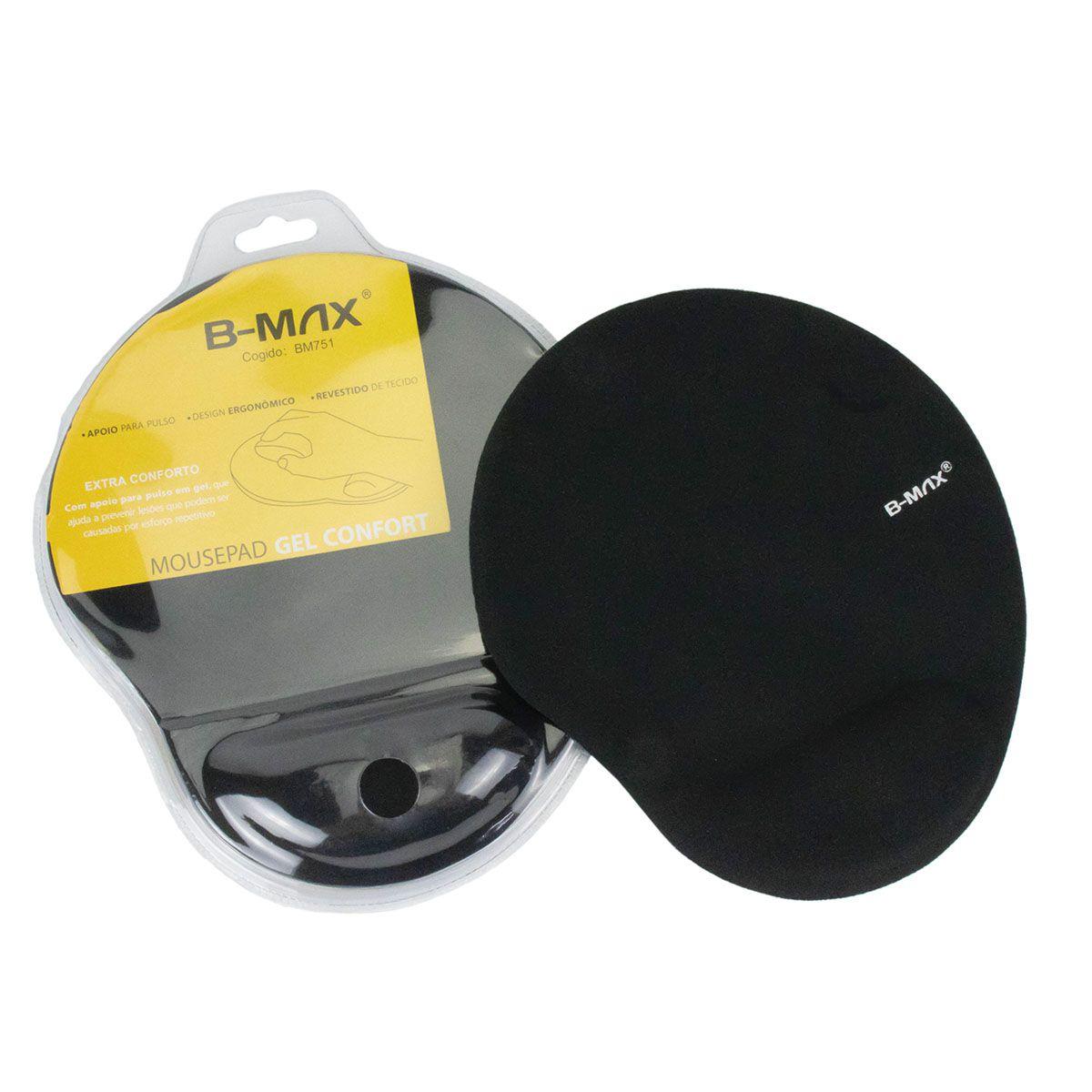 KIT 10x Mouse Pad com Apoio de Pulso em Gel Confort B-Max BM751