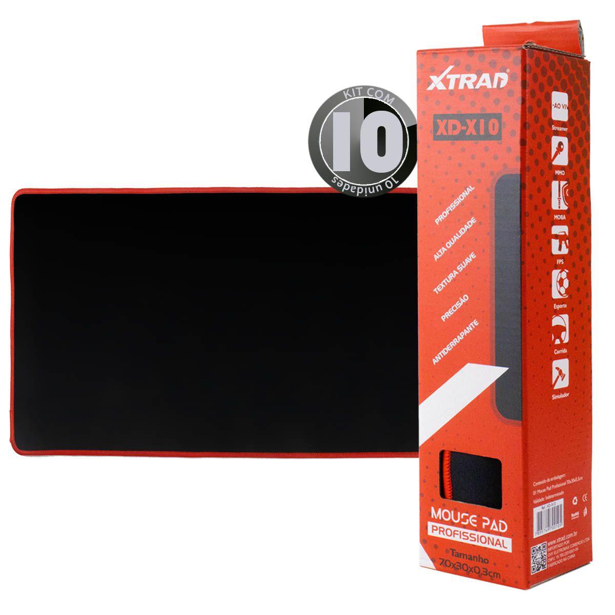 KIT 10x Mouse Pad Gamer Preto Xtrad XD-X10 Extra Grande 70x30cm