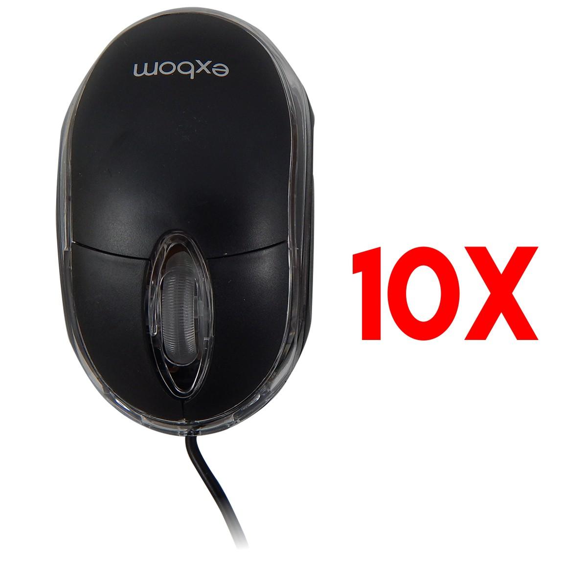 Kit 10x Mouses Otico Usb 1000 Cpi Exbom MS-10