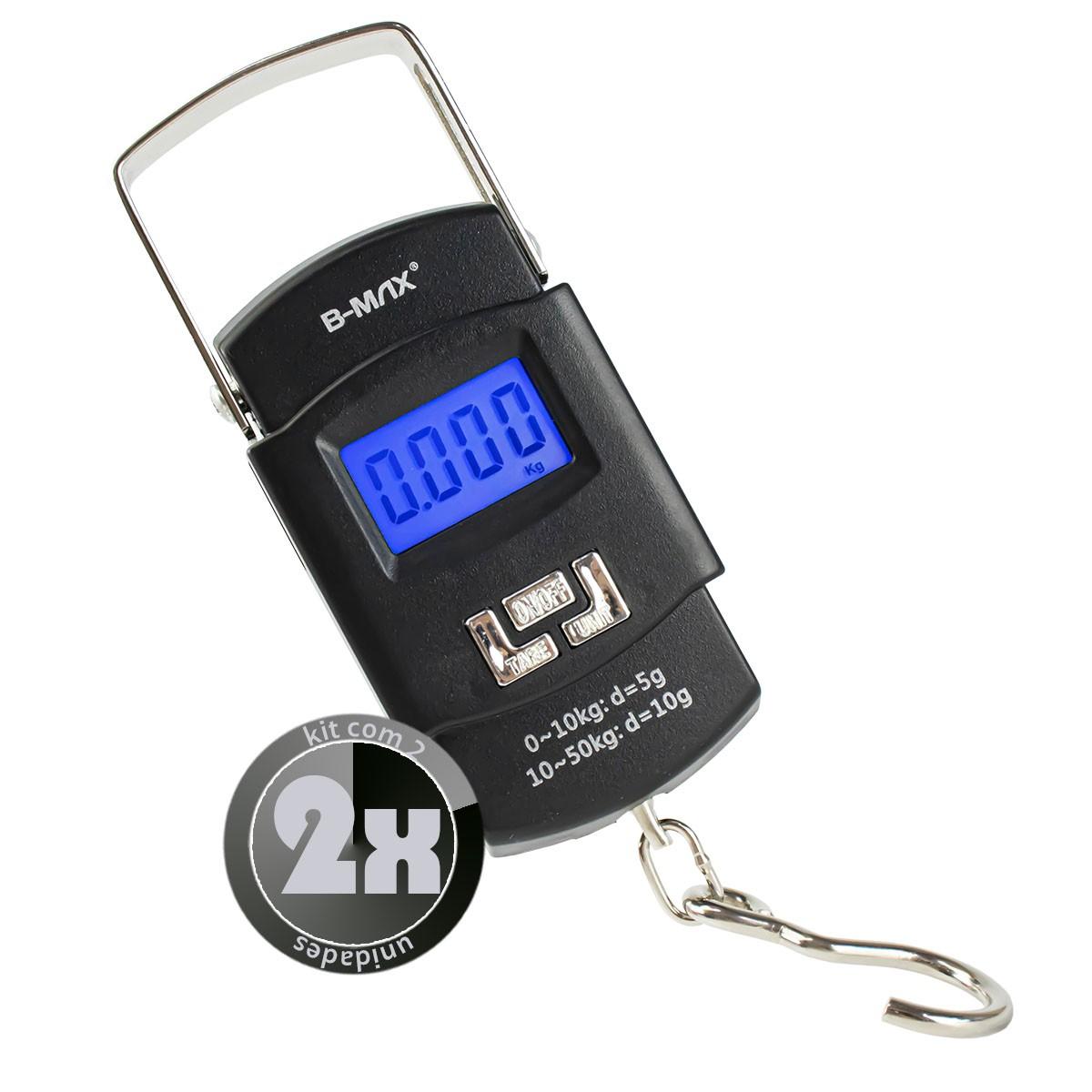 KIT 2x Balança Digital Portátil de Mão para até 50kg B-Max BM-A08