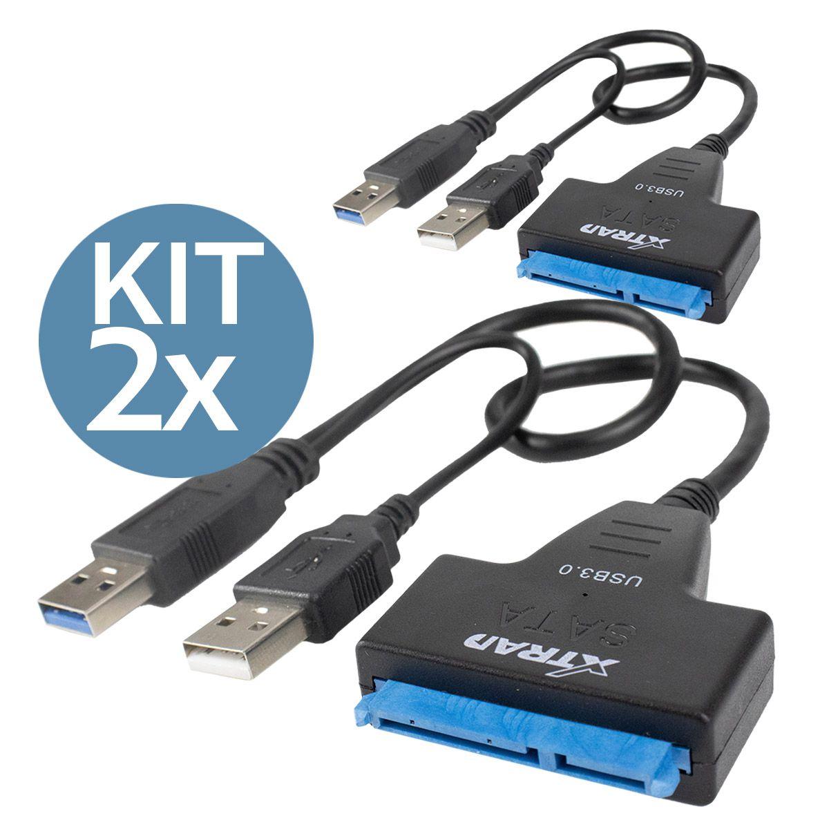 KIT 2x Cabo Adaptador Usb 3.0 para Sata com Entrada para Fonte 12v Xtrad XT2151