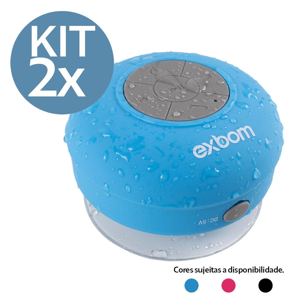 KIT 2x Caixa de Som Bluetooth Portátil à Prova D'água Exbom CS-A6BT