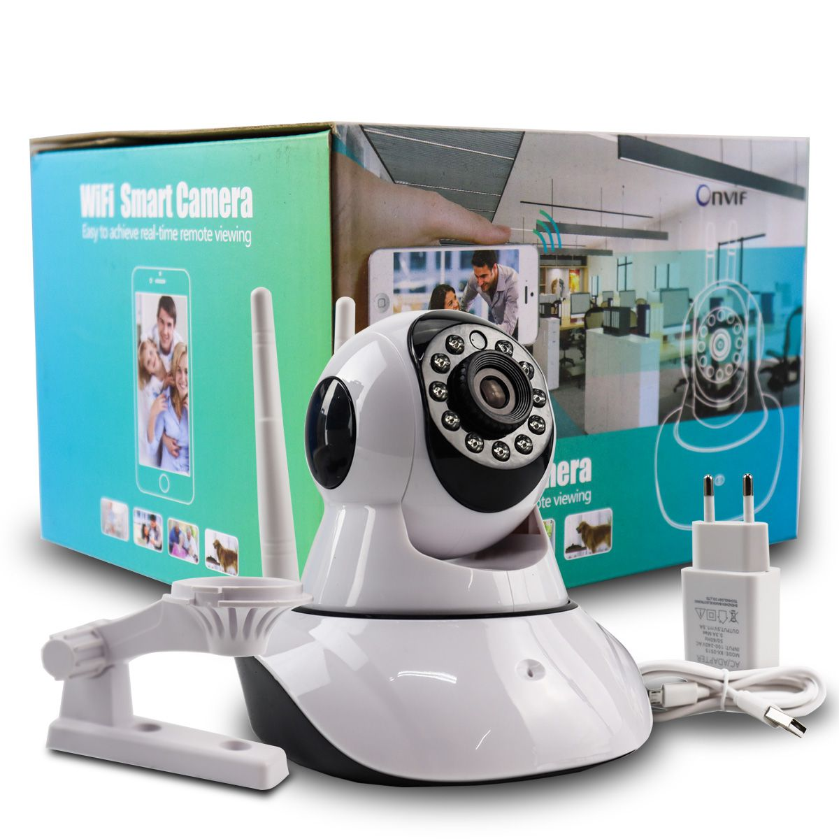 KIT 2x Câmera IP Digital 2.0MP com Dois Receptores de Wifi e Visão Noturna Full HD 1080p Q5 + 2x Cartão Micro SD 32GB