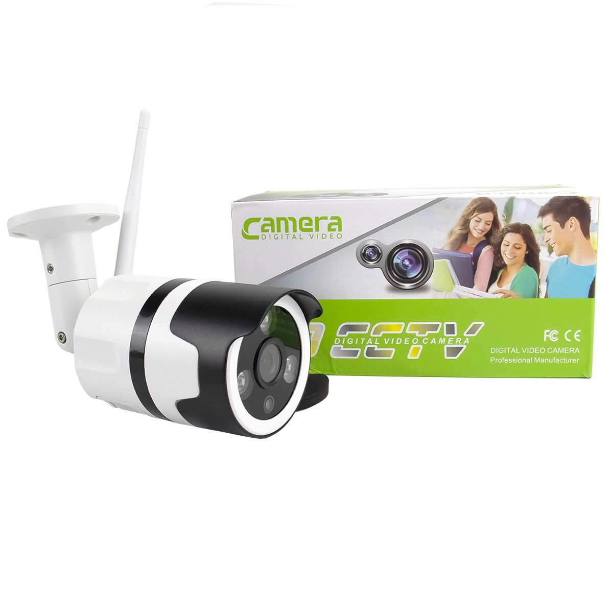 KIT 2x Câmera IP Digital Externa Full HD à Prova D'água com Visão Noturna 1080p XA-N632 + 2x Cartão Micro SD 32GB