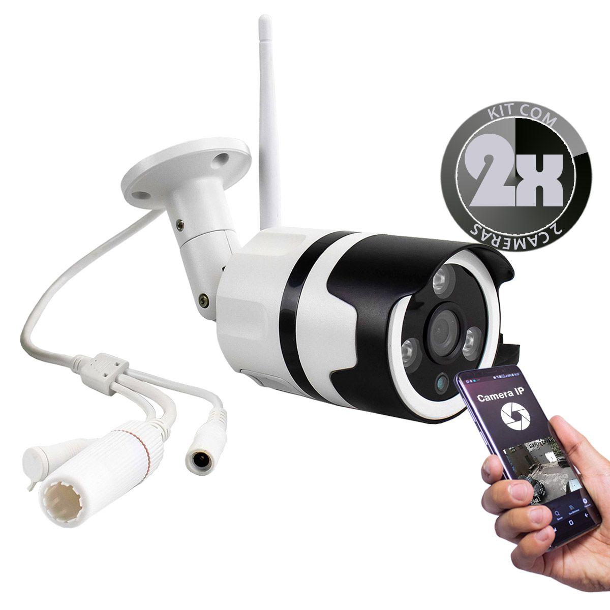 KIT 2x Câmera IP Digital Externa HD à Prova D'água com Visão Noturna 1920x1080 1.8MP-1F 3.6mm Lente XA-N632
