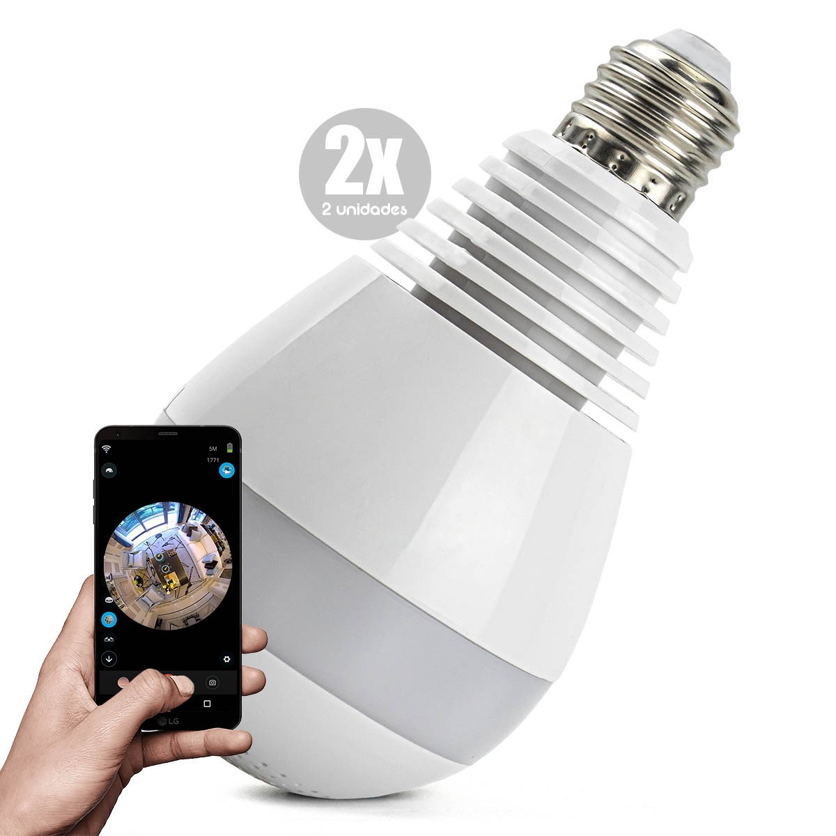 KIT 2x Câmera IP Wi-fi Panorâmica 360º Lâmpada LED Espiã Ipega KP-CA153