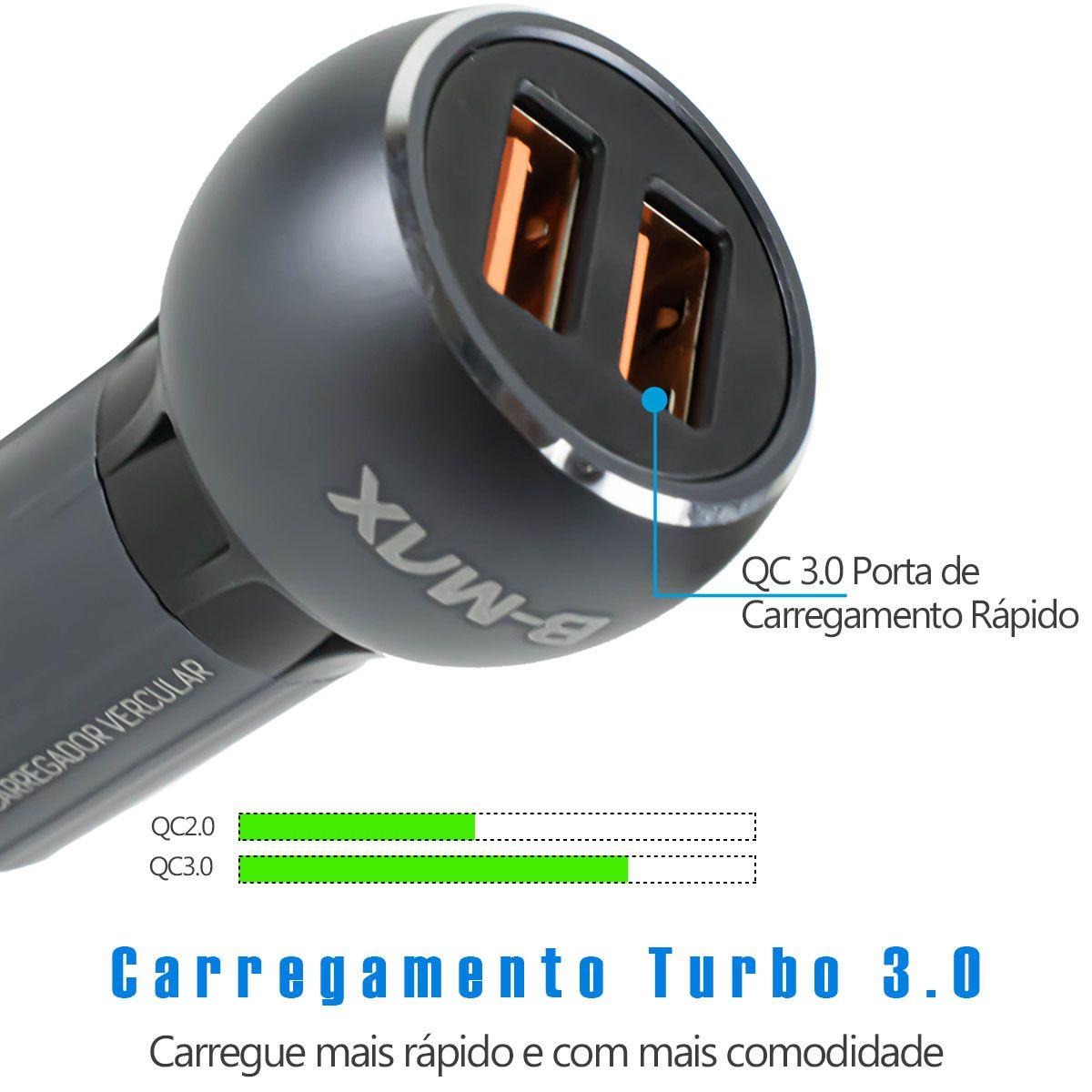 KIT 2x Carregador Veicular Turbo Quick Charge 3.0 36w para Celular Micro Usb V8 B-Max BM8610