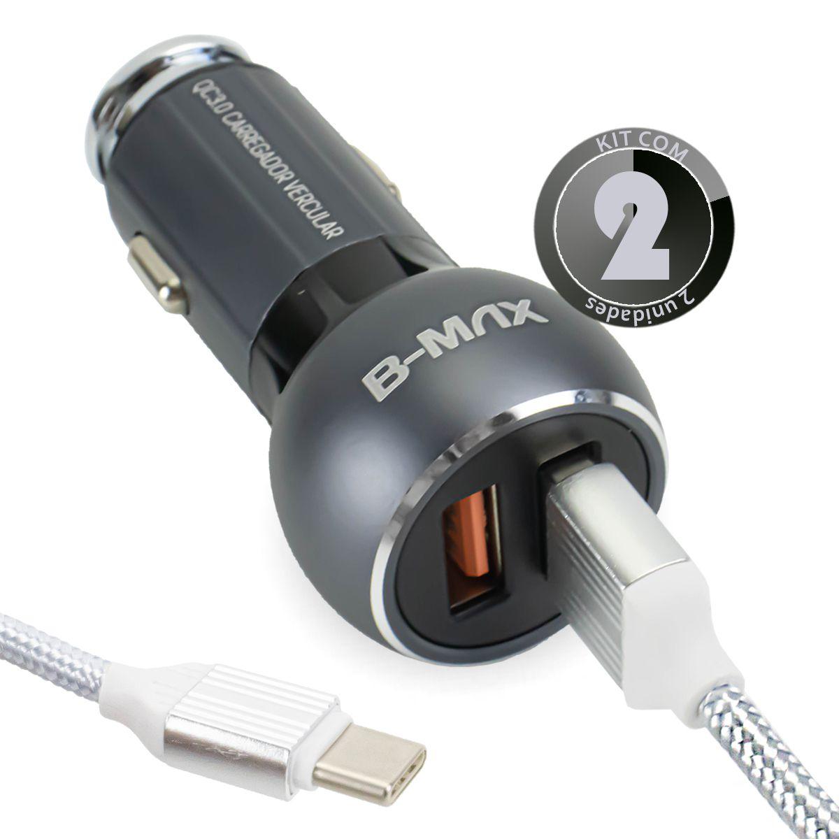 KIT 2x Carregador Veicular Turbo Quick Charge 3.0 36w para Celular Usb Tipo C B-Max BM8612