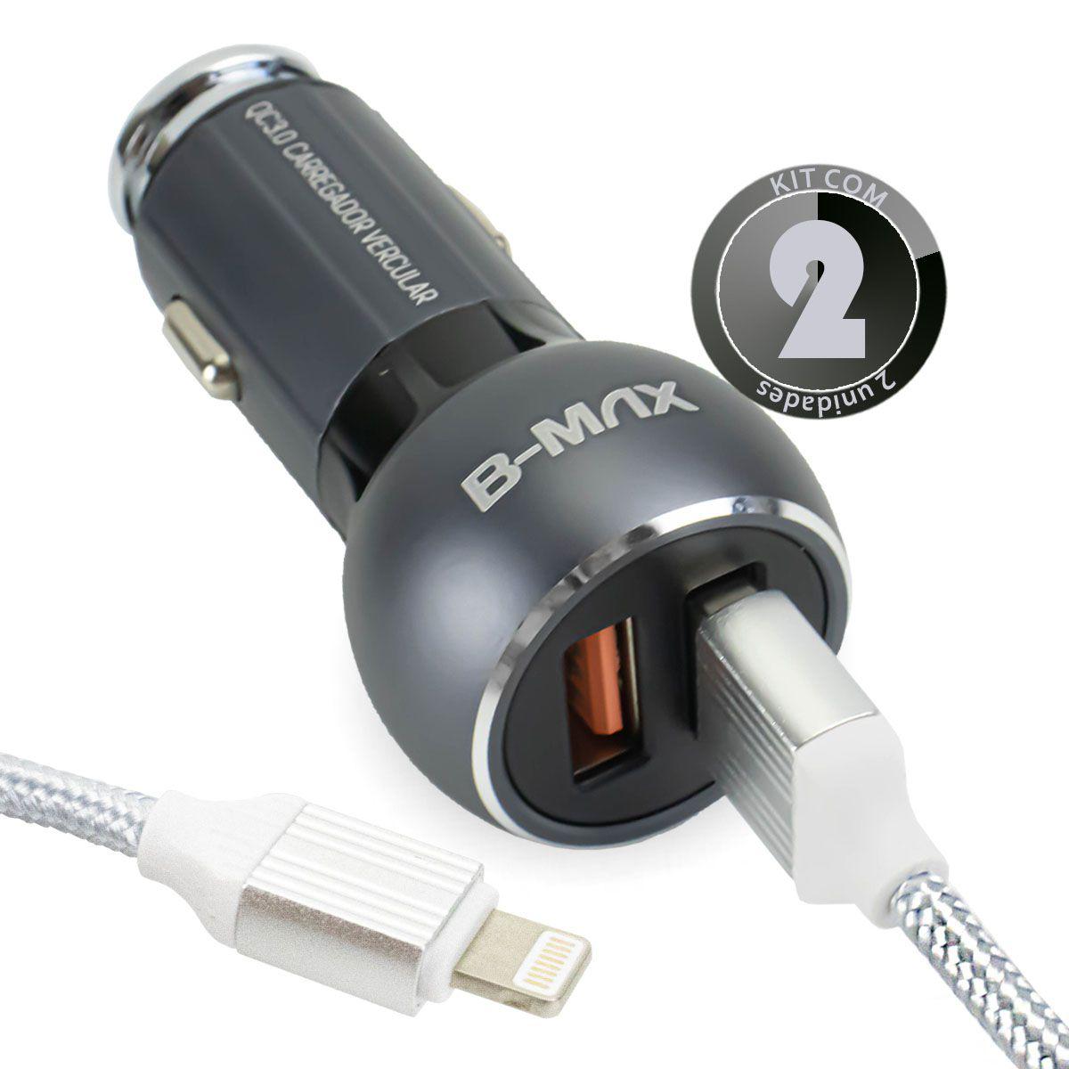 KIT 2x Carregador Veicular Turbo Quick Charge 3.0 36w para Iphone Lightning B-Max BM8611