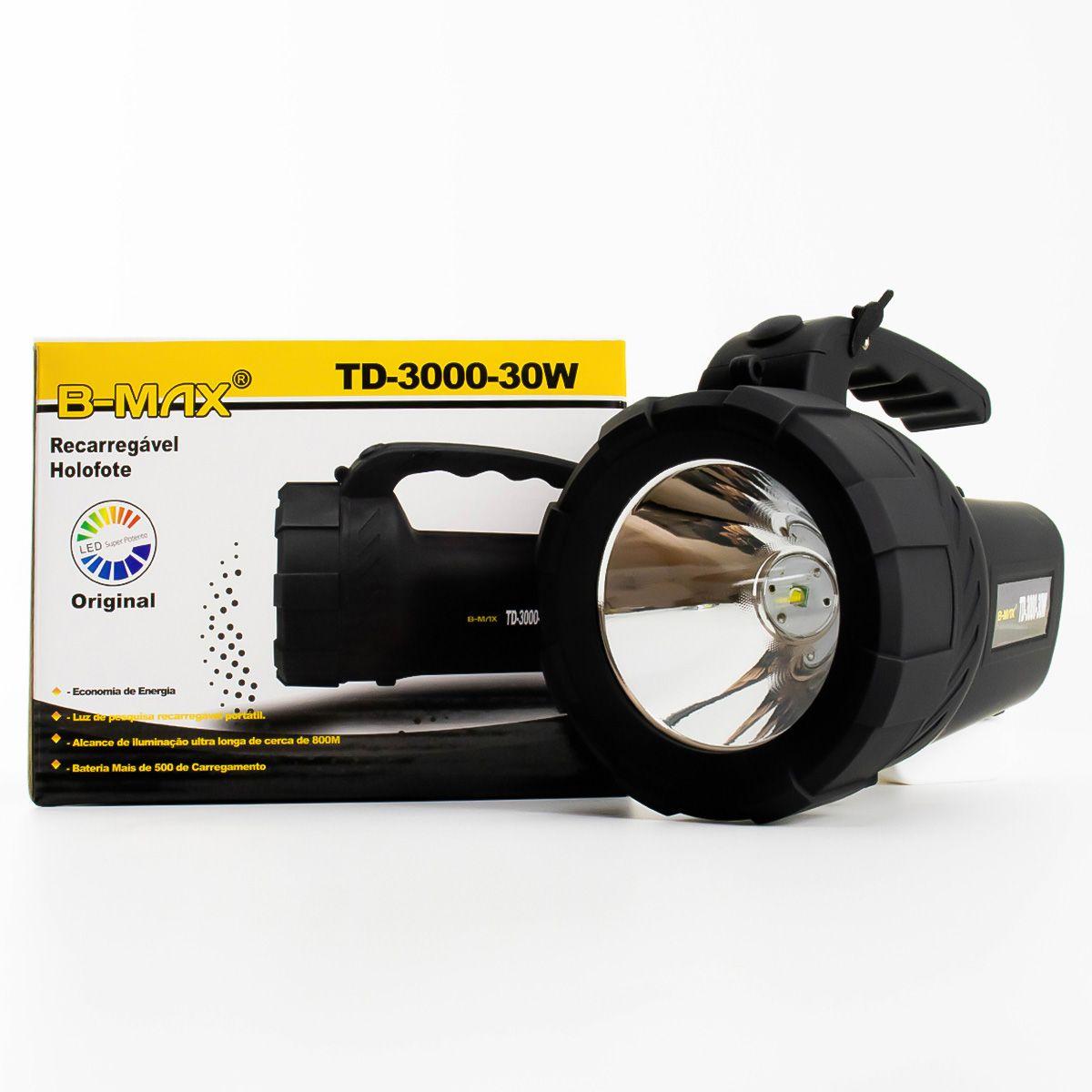Kit 2x Lanterna Led Holofote Recarregável B-Max TD-3000-30W