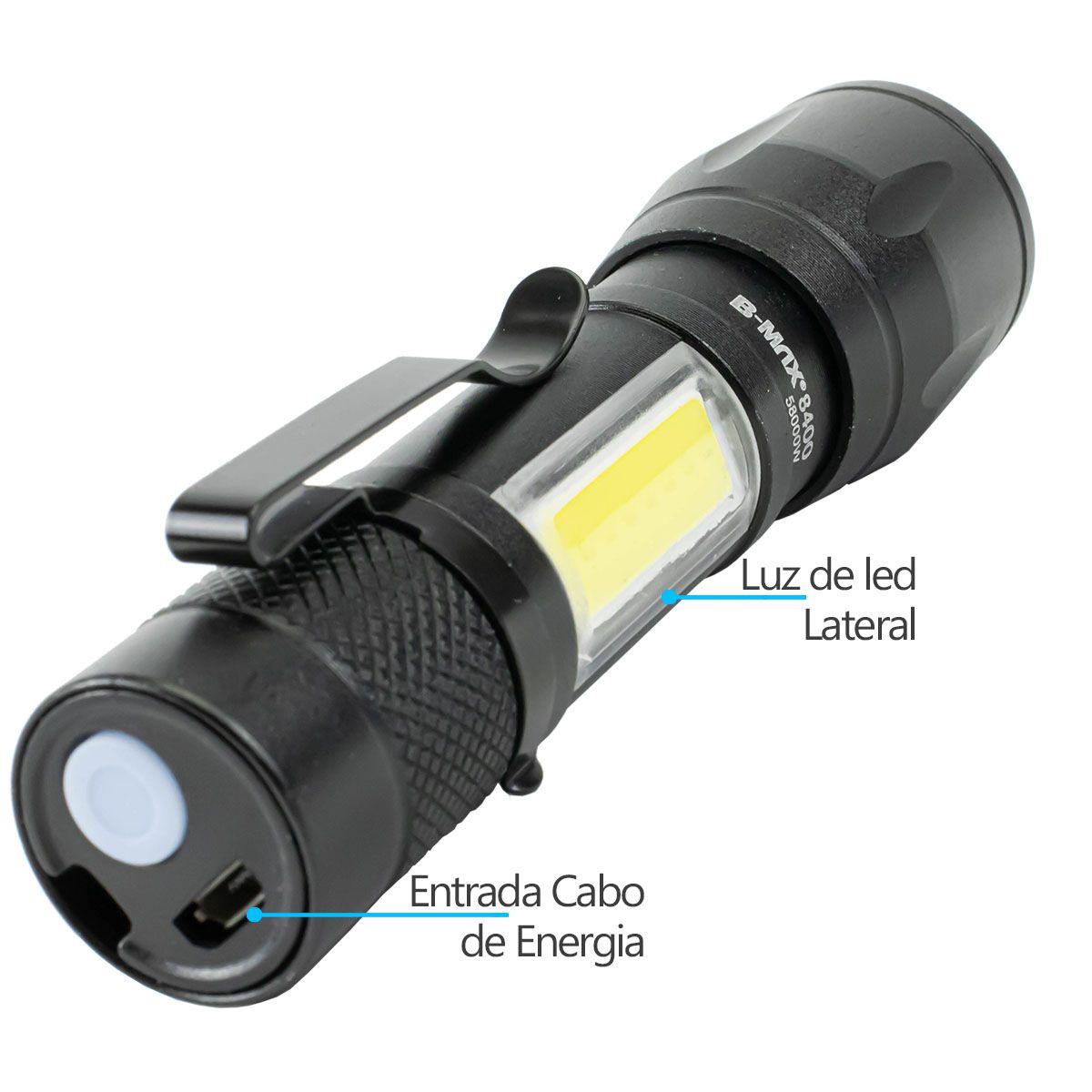 KIT 2x Lanterna Led Mini Recarregável via Usb B-Max BM8400