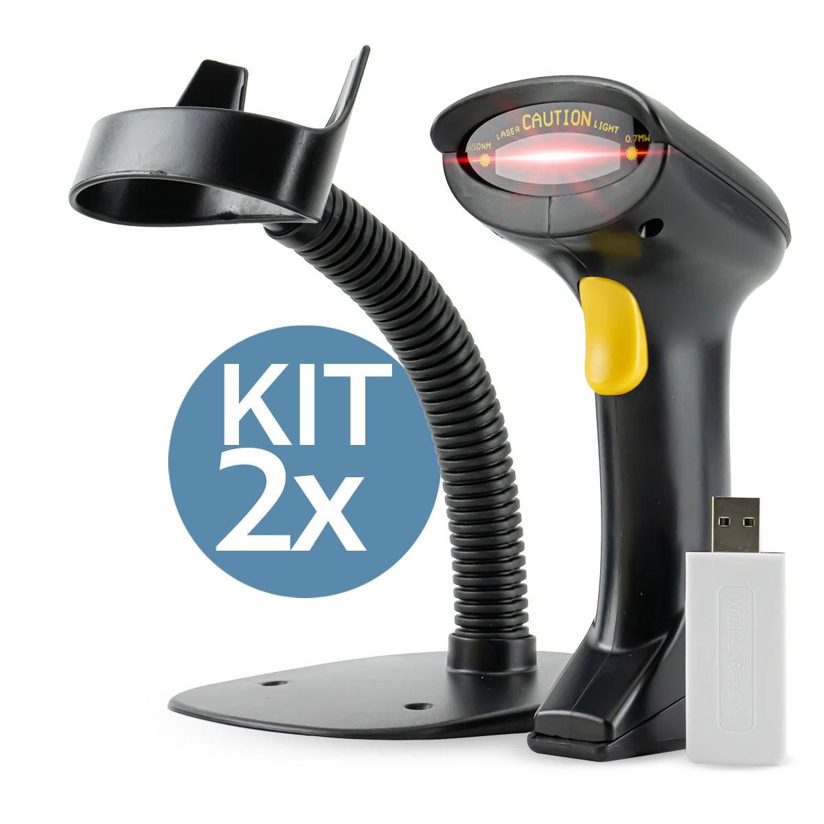 KIT 2x Leitor de Código de Barras Sem Fio B-Max LM-800