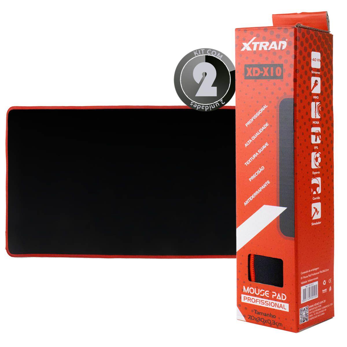 KIT 2x Mouse Pad Gamer Preto Xtrad XD-X10 Extra Grande 70x30cm