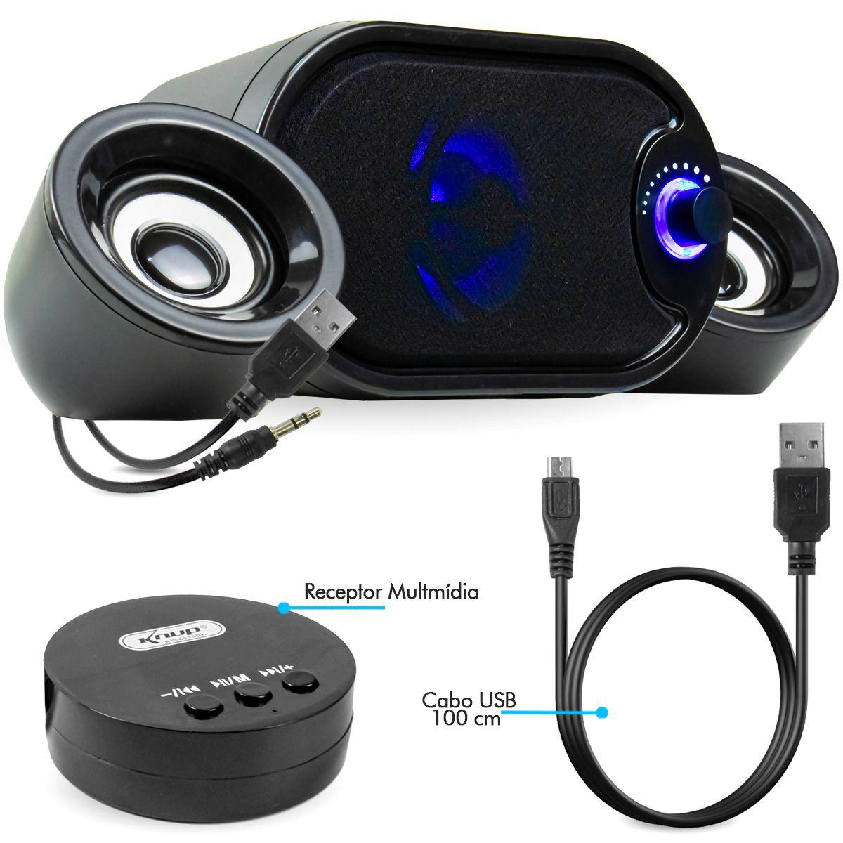 KIT 3x Caixa de Som para PC com Subwoofer e Bluetooth Knup KP-6018BH