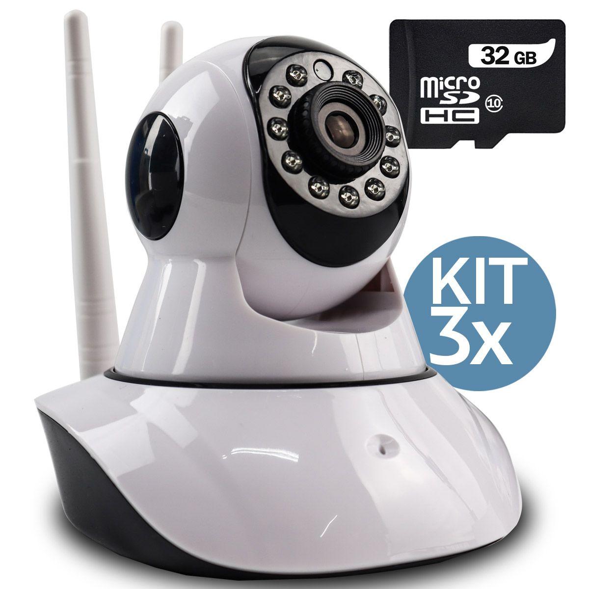 KIT 3x Câmera IP Digital 2.0MP com Dois Receptores de Wifi e Visão Noturna Full HD 1080p Q5 + 3x Cartão Micro SD 32GB