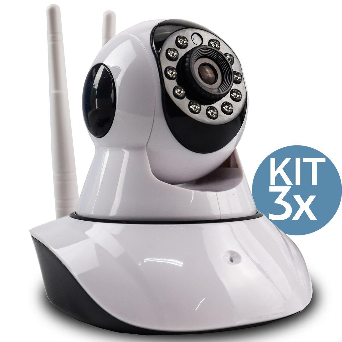 KIT 3x Câmera IP Digital 2.0MP com Dois Receptores de Wifi e Visão Noturna HD 1920x1080 Q5
