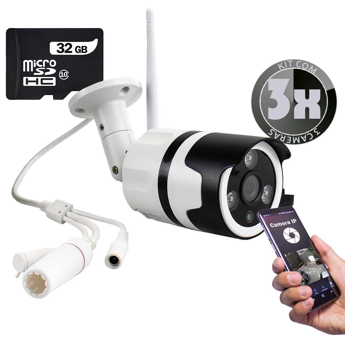 KIT 3x Câmera IP Digital Externa Full HD à Prova D'água com Visão Noturna 1080p XA-N632 + 3x Cartão Micro SD 32GB