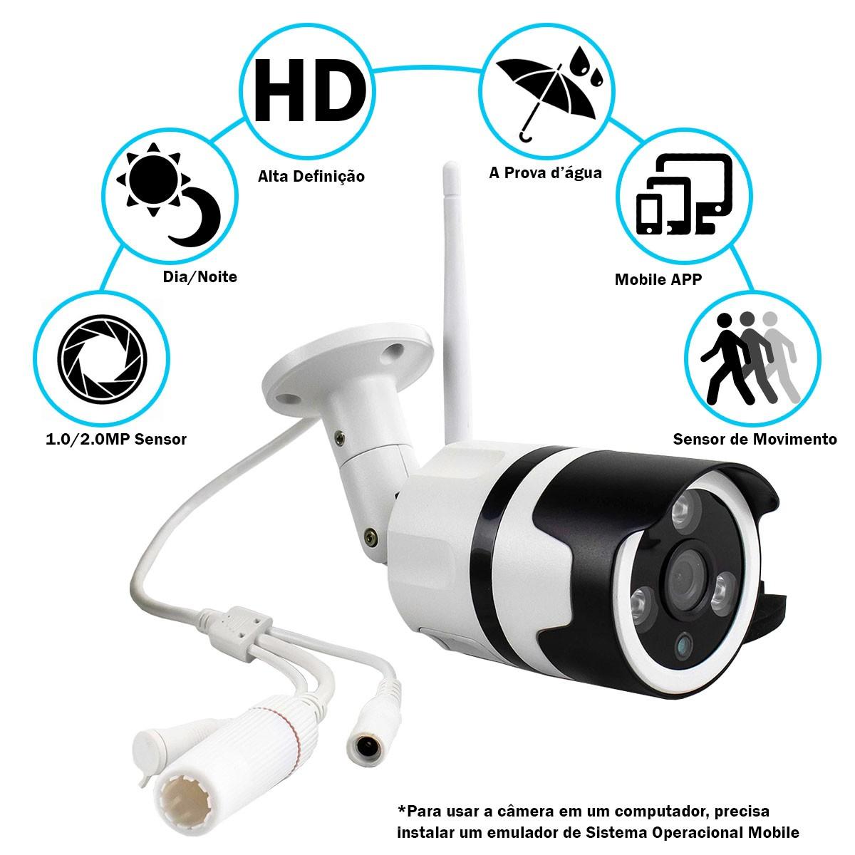 KIT 3x Câmera IP Digital Externa HD à Prova D'água com Visão Noturna 1920x1080 1.8MP-1F 3.6mm Lente XA-N632