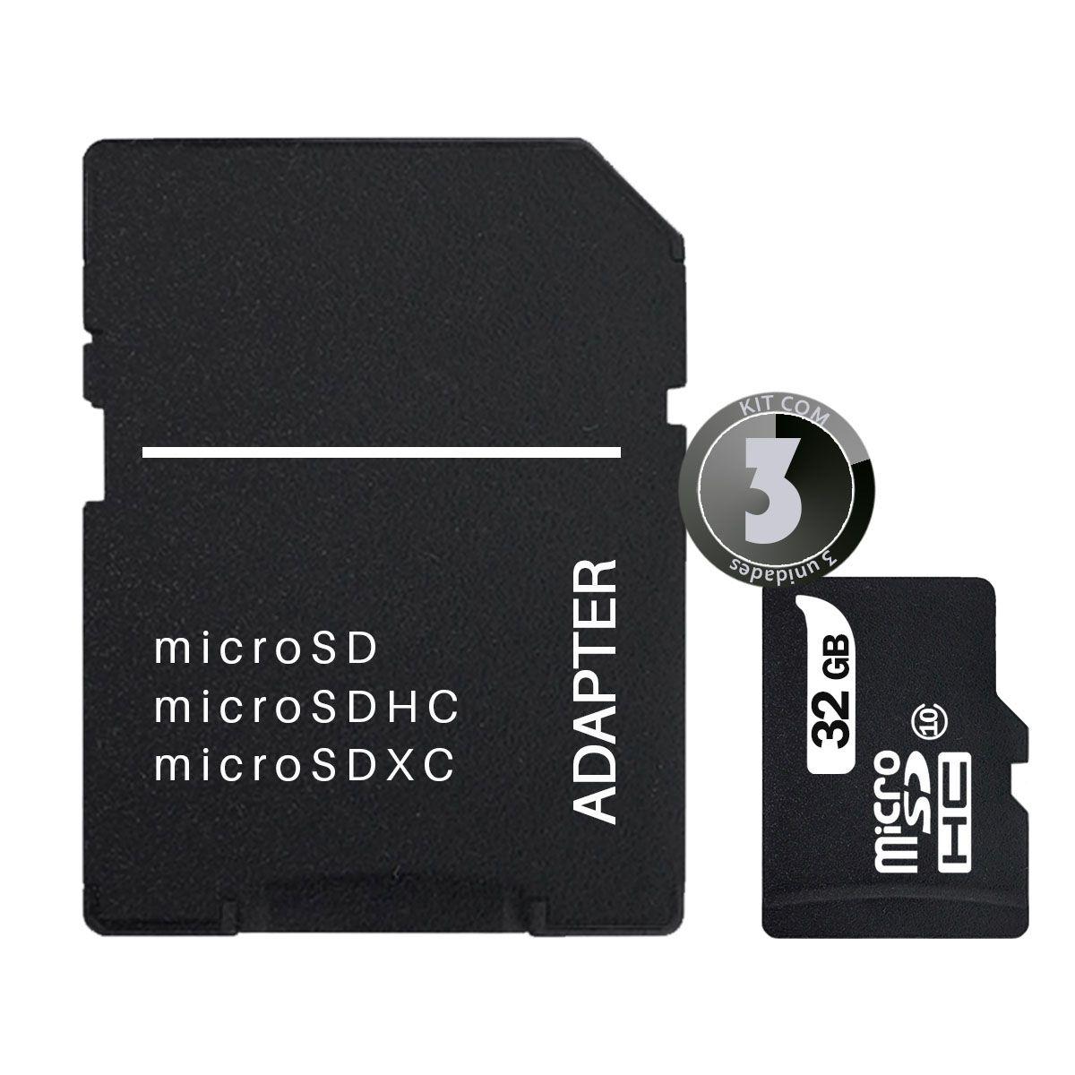 KIT 3x Cartão de Memória 32GB MicroSD Classe 10 Leboss LB-M03