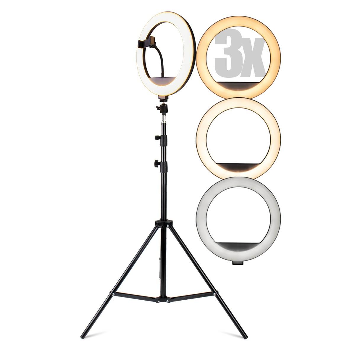 KIT 3x Iluminador Ring Light 12 Polegadas LED Dimerizável com Ajuste de Intensidade e Suporte de Celular + Tripé de 2,10 metros