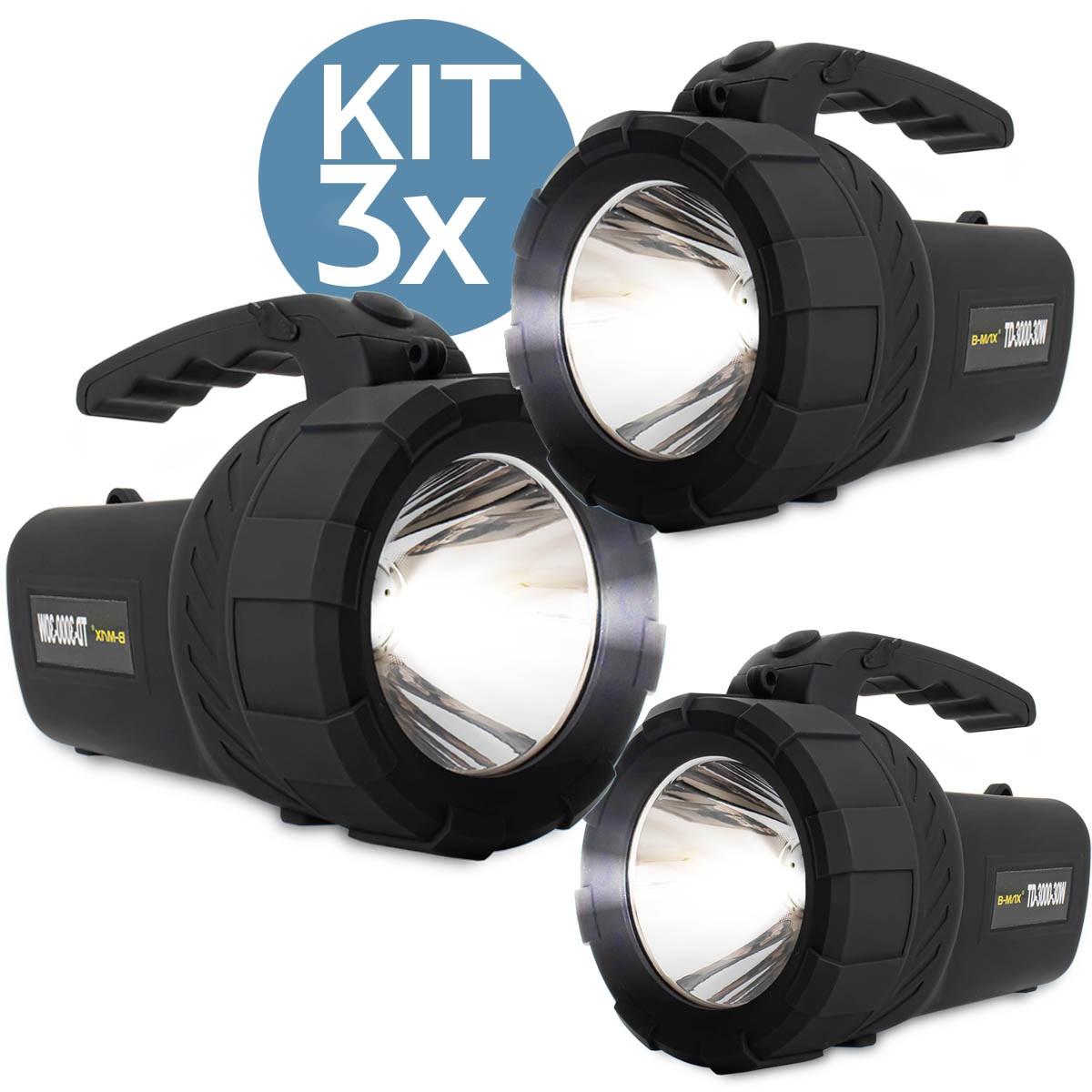 Kit 3x Lanterna Led Holofote Recarregável B-Max TD-3000-30W