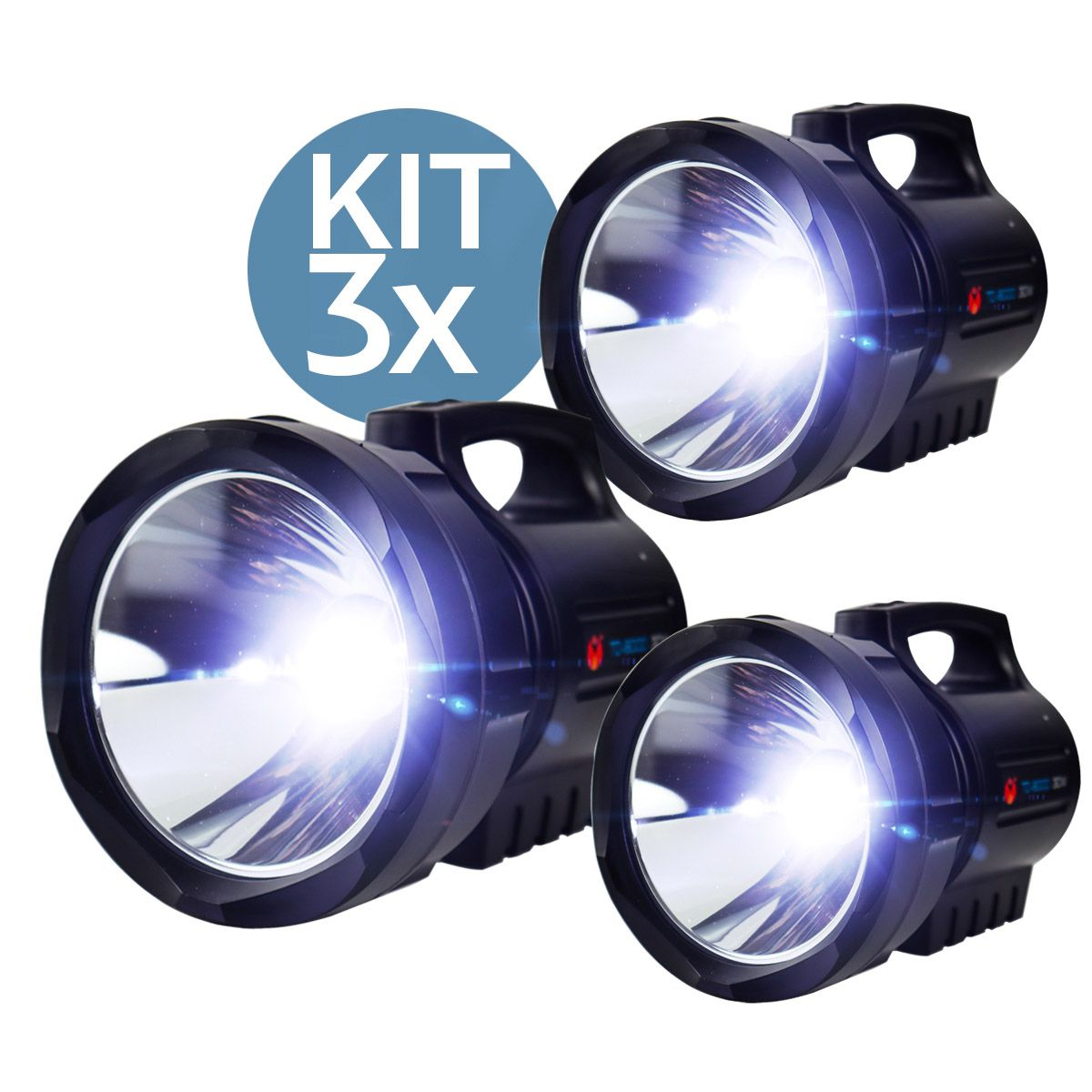 Kit 3x Lanterna Led Holofote Recarregável TD-8000