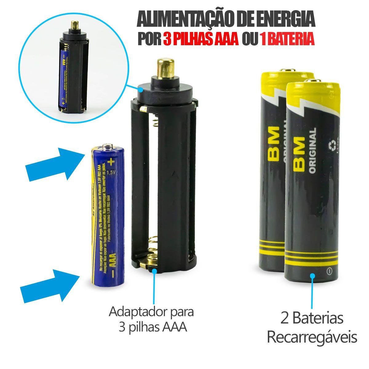 KIT 3x Lanterna Tática Led Cree com Sinalizador, Foco Ajustável e Bateria Recarregável B-Max BM8466