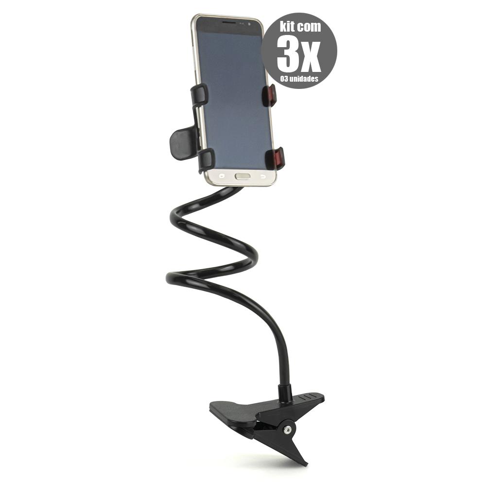 KIT 3x Suporte de Celular Articulado Universal Haste Maleável 360 e Presilha FF0009B