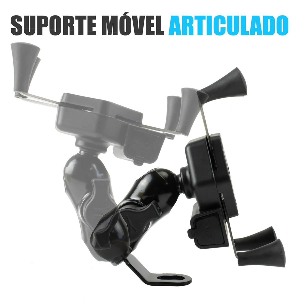 KIT 3x Suporte de Celular para Moto Retrovisor com Carregador B-Max BMG-20