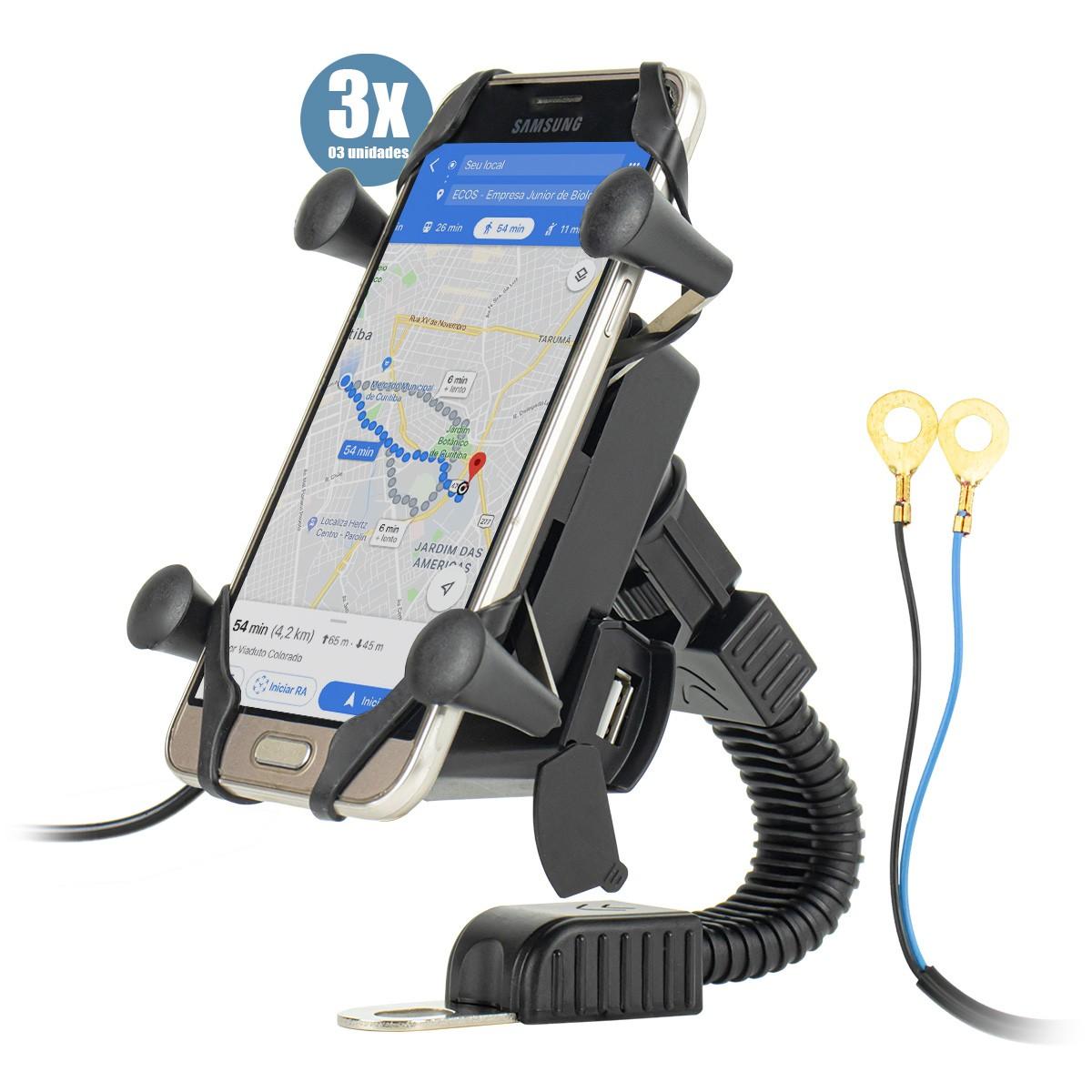 KIT 3x Suporte de Celular para Moto Retrovisor com Carregador IT-Blue LE-041