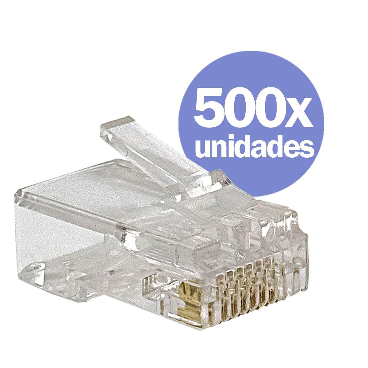KIT 500x Conectores RJ45 CAT5e Macho para Cabo de Rede