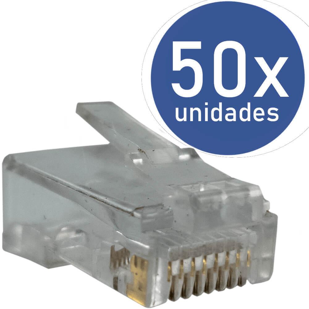 KIT 50x Conectores RJ45 CAT5e Macho para Cabo de Rede