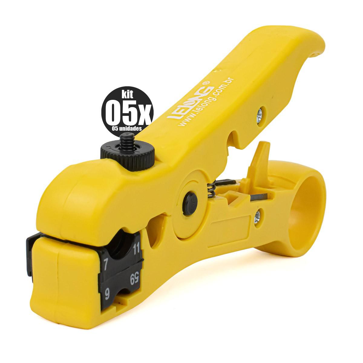 KIT 5x Alicate Desencapador Universal de Fios e Cabos UTP/STP-RG59/6/7/11 Lelong LE-949