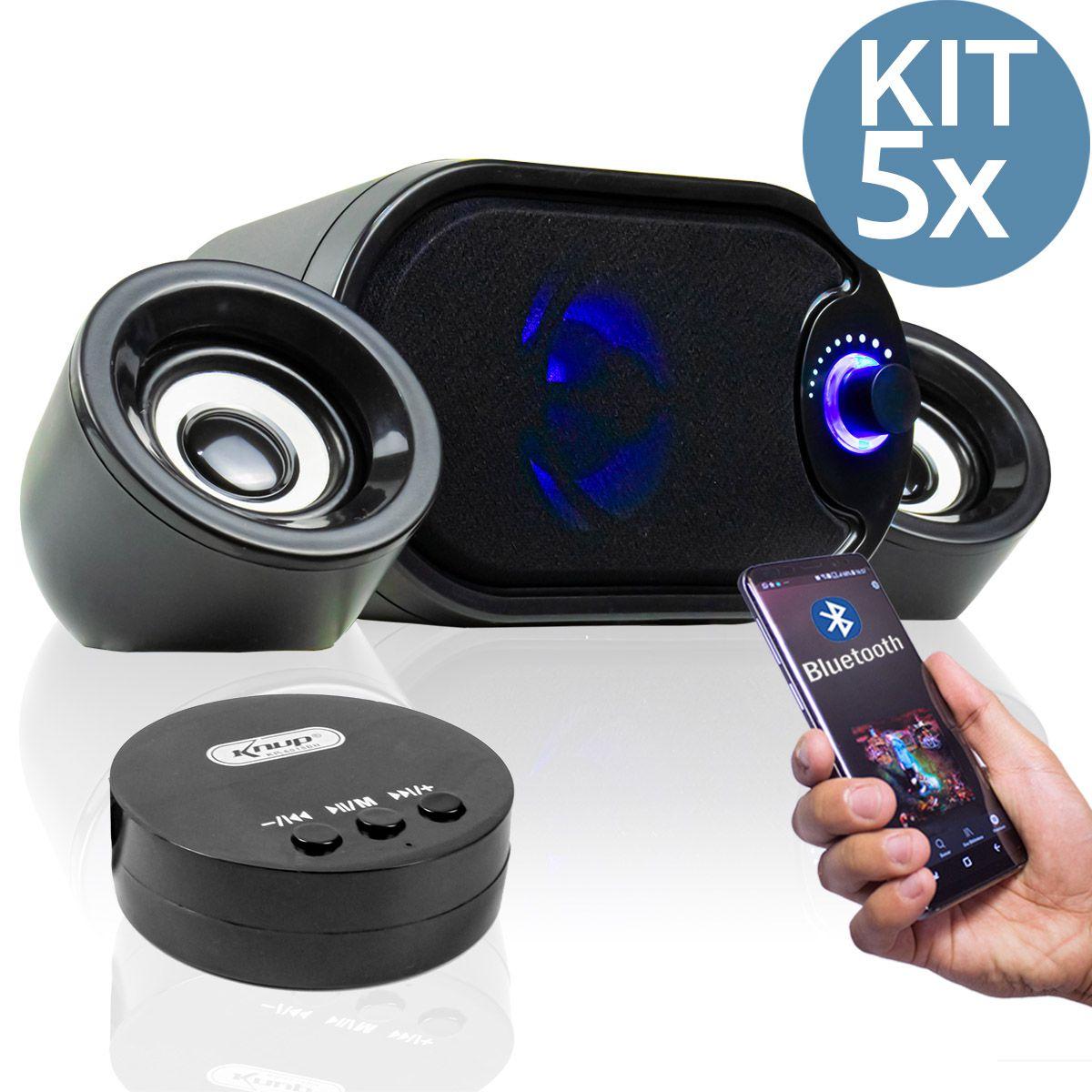 KIT 5x Caixa de Som para PC com Subwoofer e Bluetooth Knup KP-6018BH